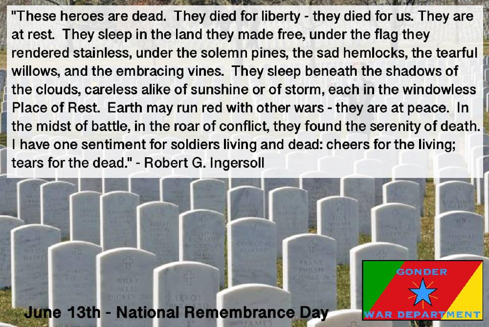 National Memorial Day established.